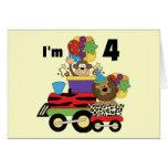Jungle Train 4th Birthday  Tshirts and Gifts Card