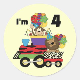 Jungle Train 4th Birthday  Tshirts and Gifts Classic Round Sticker