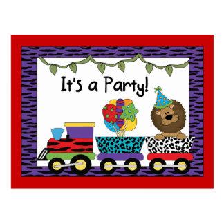 Jungle Train Party Invitations Postcard