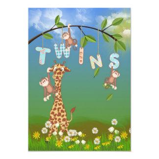 Jungle Twin Baby Shower Card