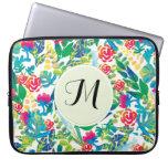 Jungle Watercolor Flowers Floral Fine Monogram Laptop Computer Sleeve