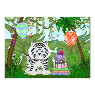 """Jungle White Tiger Birthday Party Invitation 5"""" X 7"""" Invitation Card"""