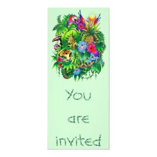 """Jungle Wild Animals and Plants Invitation 4"""" X 9.25"""" Invitation Card"""