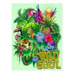 Jungle Wild Animals and Plants Postcard