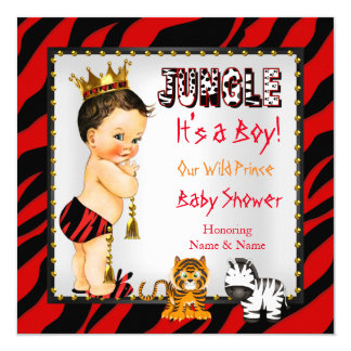 Jungle Wild Prince Baby Shower Red Brunette Card