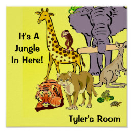 Jungle, Zoo Animals Poster