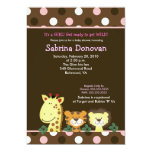 JUNGLE ZOO PARTY 5x7 Brown/Pink Baby Shower Custom Announcements