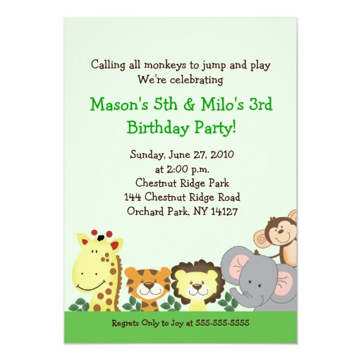 JUNGLE ZOO PARTY 5x7 Custom Birthday Invitation