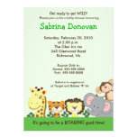 JUNGLE ZOO PARTY 5x7 GREEN Baby Shower Personalized Announcement