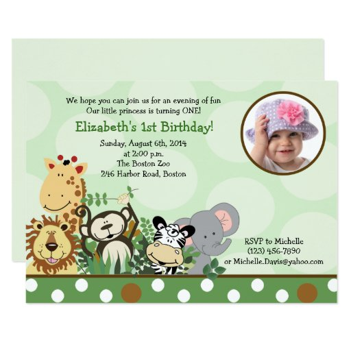 Jungle Zoo Party Birthday Invitation with Photo