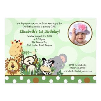 """Jungle Zoo Party Birthday Invitation with Photo 5"""" X 7"""" Invitation Card"""
