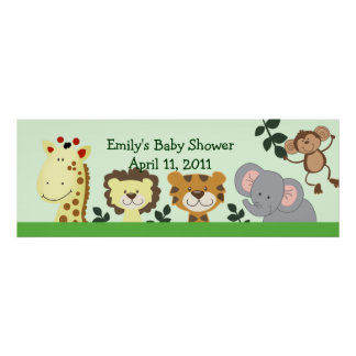 JUNGLE ZOO PARTY Customizable Birthday Banner Poster