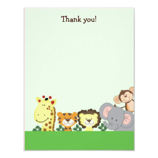 JUNGLE ZOO PARTY (Green) 4x5 Flat Thank you note Card