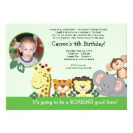 Jungle Zoo Party Green Animal Photo Birthday Card Personalized Invitation