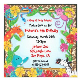 Jungle Zoo Party Invitation