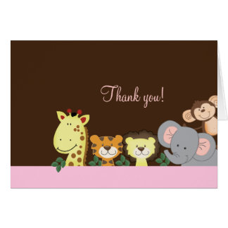 Jungle Zoo Party (Pink) Folded Thank you notes