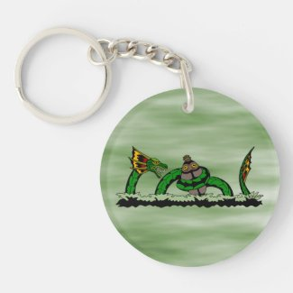 Jungun Catching a Quibbib Double-Sided Round Acrylic Keychain