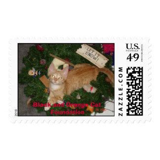 Junior at christmas, Black and Orange Cat Found... Postage