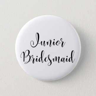Junior Bridesmaid 2 Black Script Typography (30) Button
