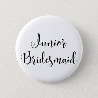 Junior Bridesmaid 2 Black Script Typography (30) Button