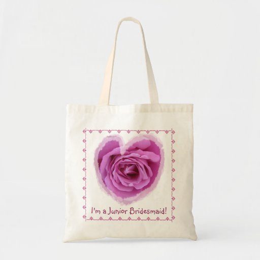 Junior Bridesmaid Bag - PINK Rose Heart with Lace