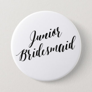 Junior Bridesmaid Black Script Button