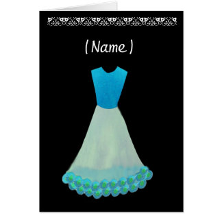 Junior Bridesmaid Blue & White Gown Flowered Trim Greeting Cards