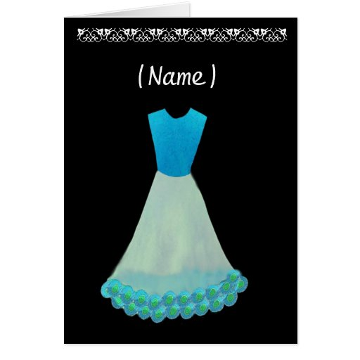 Junior Bridesmaid Blue & White Gown Flowered Trim Greeting Card
