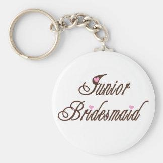 Junior Bridesmaid Classy Browns Basic Round Button Keychain