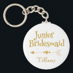 "Junior Bridesmaid Gifts Keychain<br><div class=""desc"">A nice junior bridesmaid token,  this keepsake features &quot;Junior Bridesmaid in cute golden font.  With a heart arrow separating the text fields,  place your order today!