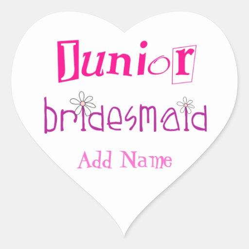 Junior Bridesmaid Heart Sticker