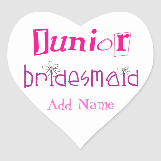 Junior Bridesmaid Heart Sticker