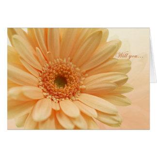 Junior Bridesmaid invitation, peach Gerbera(daisy) Card