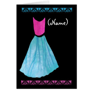 Junior Bridesmaid Invitation PINK & BLUE Gown Greeting Cards