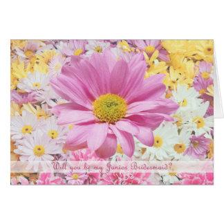 Junior Bridesmaid Invitation - Pink flower card