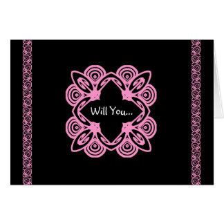 JUNIOR BRIDESMAID Invite - Pink & Black Art Deco Card