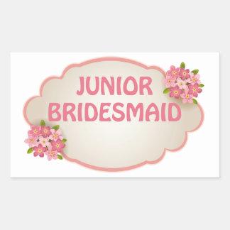 Junior Bridesmaid (pink floral) Rectangular Sticker