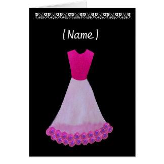 Junior Bridesmaid Pink & White Gown Flowered Trim Greeting Card