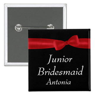 JUNIOR BRIDESMAID Red Bow Wedding Custom Name 2 Inch Square Button