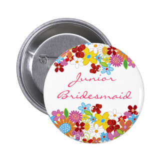 JUNIOR BRIDESMAID Spring Flowers Wedding Button