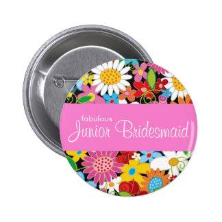 JUNIOR BRIDESMAID Spring Flowers Wedding Name Tag Pinback Button