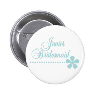 Junior Bridesmaid Teal Elegance Pinback Button