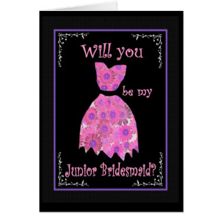 JUNIOR BRIDESMAID Wedding Invitation Pink Gown Greeting Card