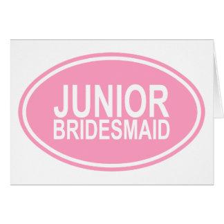 Junior Bridesmaid Wedding Oval Pink Greeting Card