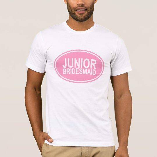 Junior Bridesmaid Wedding Oval Pink T-Shirt