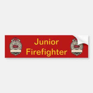 Junior Firefighter's Badge Car Bumper Sticker