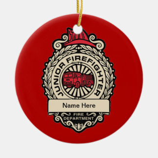 Junior Firefighter's Badge Christmas Ornaments