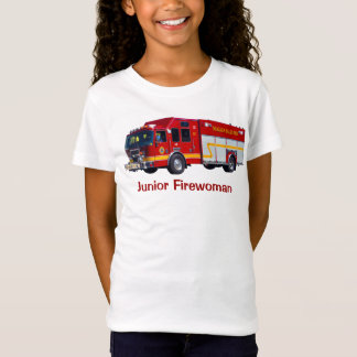 """Junior Firewoman"" Red Fire Engine Fun T-Shirt"