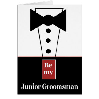 JUNIOR GROOMSMAN Invitation with Tux Funny A01