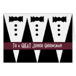Junior Groomsman Thank You - Three Tuxedos Greeting Cards